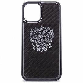 Чехол для iPhone 12/12 Pro (6.1) Premium Carbon с гербом