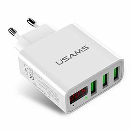 ЗУ Usams TC-04, 3USB, LED, 3A