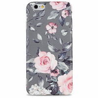 Чехол для iPhone 6/6s Glamour (Розы на сером)
